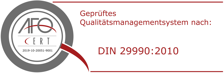 Zertifizierung nach DIN ISO 29990:2010